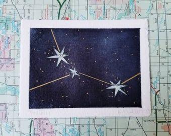 Mixed Media Watercolor Constellation