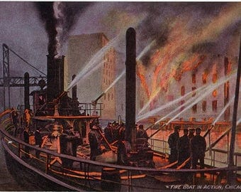 Chicago Illinois Fire Boat in Action circa 1910 Vintage Chicago Postcard (unused)