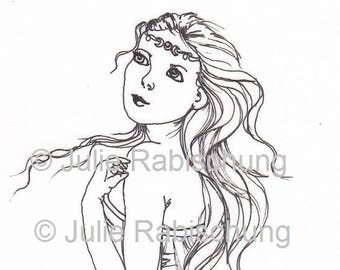 coloring page - digital stamp- woman- magic- moon- adult coloring- card making- craft supply- printable- light commercial use