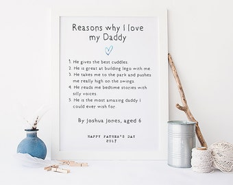 Father's Day gift - personalised father's day print - daddy print - father's day present - gift for dad - personalised dad print