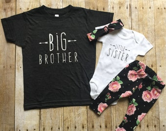 Big brother shirt and little sister set, sibling shirts, pregnancy announcement shirt