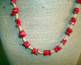 Red Coral Chips and Czech bead Necklace