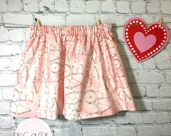 Love  skirt / Toddler  Skirt / Baby skirt / Girls Skirt / 12 months / 18-24 months / 24 months/ 2t- 3t/ 4/5/6