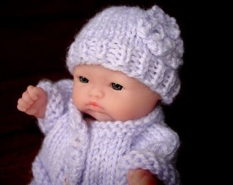 "Lots To Love, Berenguer, Miniature Tiny Doll - Too Cute For Words Baby - 5"" Tall - Lavender Hand Knit Outfit"