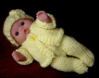 "Lots To Love, Berenguer, Tiny Miniature Doll - Too Cute For Words Baby - 5"" Tall - Yellow Hand Knit Outfit"