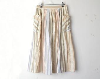 pastel striped high waist linen A line skirt with pockets 70s // M-L