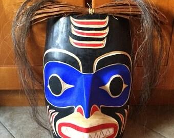 Native Pacific Northwest Coast Salish Shark Man Mask Totem