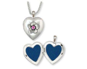 Cherry Blossom Photo Locket Jewelry Sterling Silver Handmade Flower Photo Locket CBB-ST