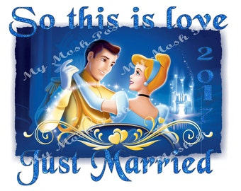 2 images His and Hers Just Married Cinderella and Prince Charming Iron On Transfers Digital Files