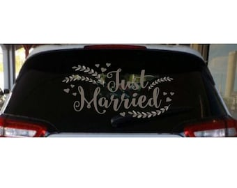 Just Married Car Decal | Just Married Decal | Car Decoration | Wedding Decal | Wedding Sign