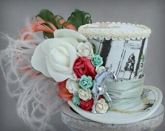 Kentucky Derby Hat, Flower Mini Top Hat, Horse Mini Top Hat, Victorian Hat, Tea Party Flower Hat, , Women Mini Top Hat, Women Fascinator