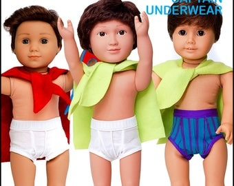 Pixie Faire 18 On Main Captain Underwear Doll Clothes Pattern for 18 inch American Girl Dolls - PDF