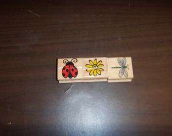 Lot of 3 Stamps (Ladybug, Dragonfly & Sunflower)