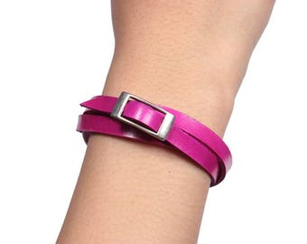 Leather Wrap Bracelet (Hot Pink) (056B)