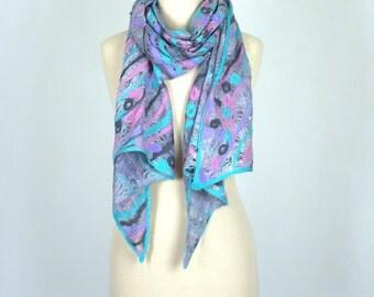 Gray Felted Scarf, Cobweb Scarf, Silk Scarf, Art Scarf, Gray Pink Azure, Spring / Summer Scarf