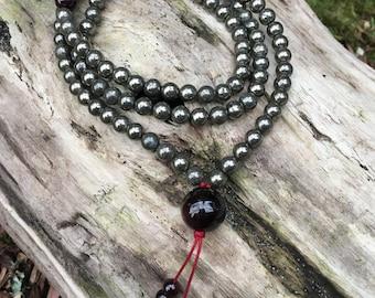 Pyrite and Garnet Buddhist Mala Prayer Beads B121