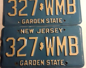 Vintage New Jersey License Plates, 1980