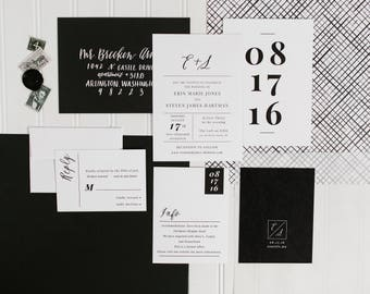 Minimalist Wedding Invitation | Black and White Invitation | Modern Wedding Invitation