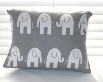 "CLEARANCE Pillow Cover, Pillow, Baby, Nursery, Throw Pillows, Gray Pillow,  Gray Elephant Lumbar Pillow, 12"" x 16"" or 12"" x 18"""