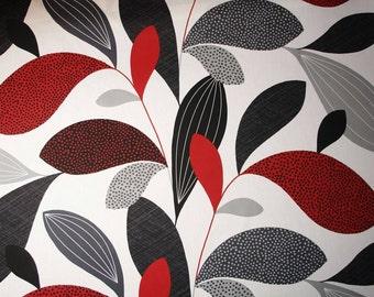 SALE -50% Scandinavian fabric, leaf fabric, upholstery fabric, curtain fabric, Swedish fabric, canvas fabric, Kinnamark Fanny