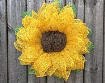 Sunflower Wreath, Spring Wreath, Burlap Sunflower Wreath, Summer Wreath, Mother's Day Gift, Front Door Wreath, Handmade Gift, Sunflower