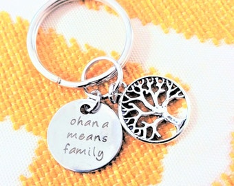"FAMILY TREE KEYCHAIN with ""ohana means family"" - Read item details & see all photos - one flat rate shipping in my shop :)"