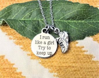 "RUNNER NECKLACE ""I run like a girl Try to keep up"" with a 3D shoe charm - choice of chains"