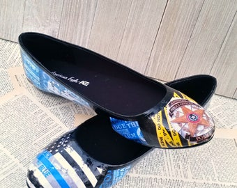 Police Wife Flats Police Shoes Emergency Worker Shoes Law Enforcement Police Wife Life Sheriff Wife Wedding Shoes