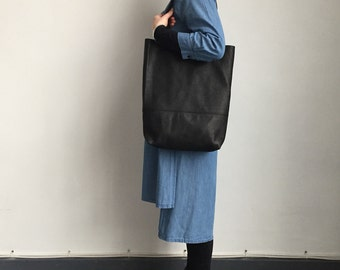 Black leather slouchy shopper bag, leather tote bag, leather shoulder bag, soft leather tote bag, black leather work bag, leather laptop bag