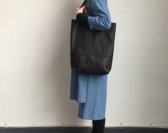 Black leather slouchy shopper bag, leather hobo bag, leather shoulder bag, soft leather bag, leather changing bag, leather laptop bag