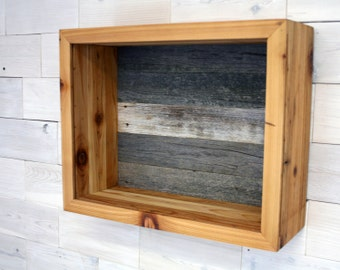 "Reclaimed Cedar Shadow Box 20"" x 16"" x 7"" for Wedding Bouquet (rustic display box wall hanging for flowers with cork or barn wood backer)"