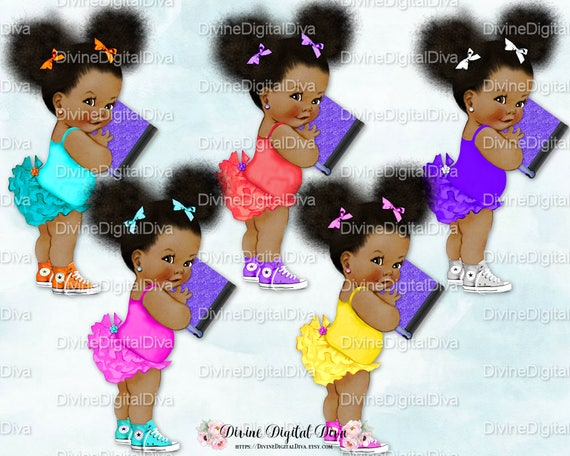 Ruffle Pants Natural Hair Pony Tails Afro Puffs Book Vintage