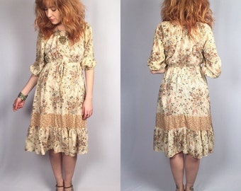 Vintage 70's Prairie Gypsy Dress Small