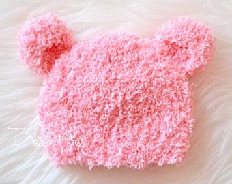 Baby Bear Hat, Fluffy Bear Hat, Newborn Bear Hat, Pink Bear Hat, Baby Hat with Ears, Fuzzy Bear Hat, Crochet Bear Beanie, Newborn Bear Hats