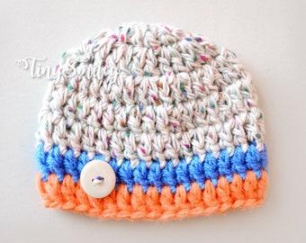 Crochet Baby Boy Hat, Striped Baby Boy Hat, Newborn Boy Hat, Newborn Multicolored Hat, Ready to Ship Baby Boy Hat, Multicolored Boy Hat