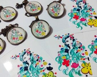 Aqua Vita Necklace, Unicorn Hair Necklace, Green Hair Necklace, Pretty Girl Necklace, Rainbow Colors Necklace