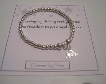 Sterling Silver Car Charm Stretch Bead Bracelet