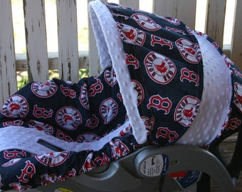 Boston Red Sox and white minky infant car seat cover and hood cover with optional hedsupport and strap covers and blanket