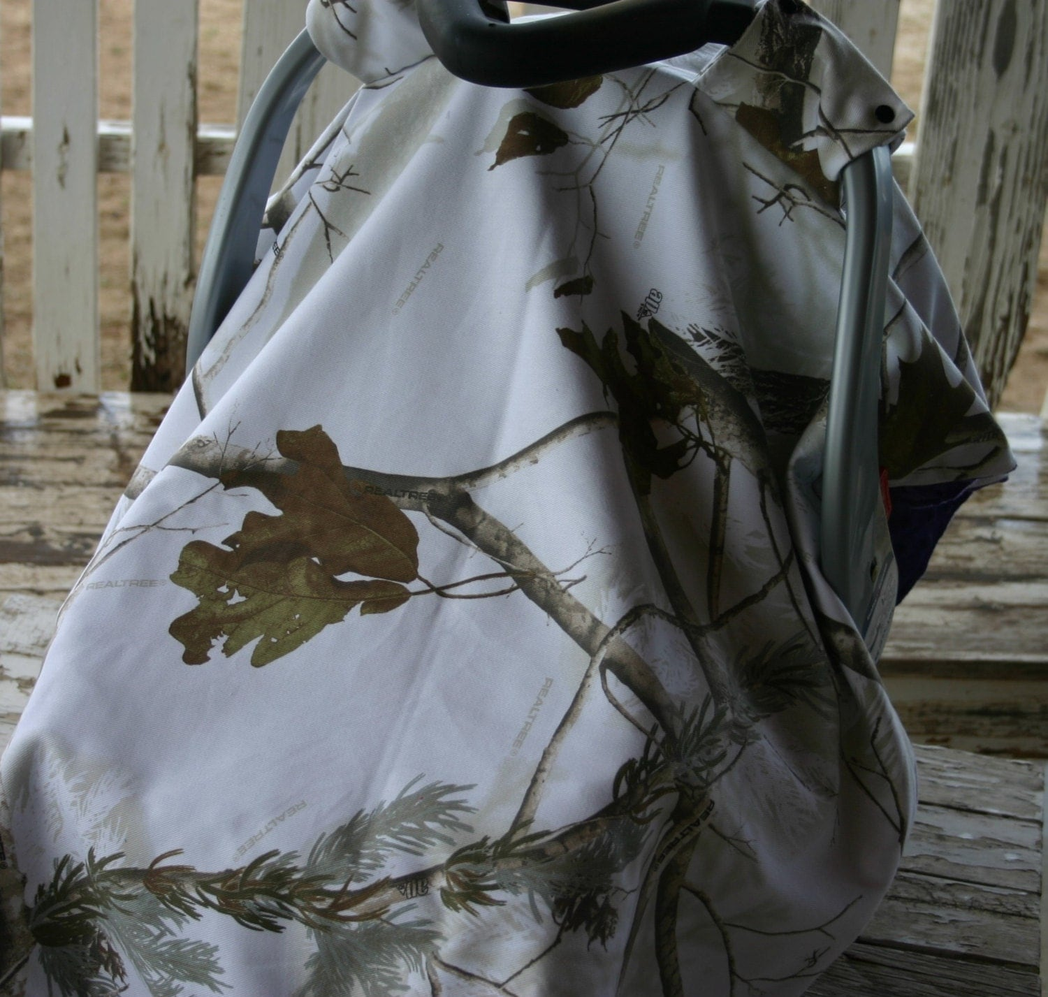 Realtree Snow Camo And Purple Minky Car Seat Canopy Cover