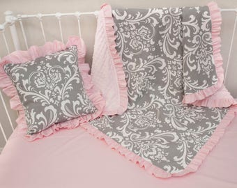 Gray Damask Light Pink Baby Girl Blanket and Pink Decorative Pillow ( Choose from Options)