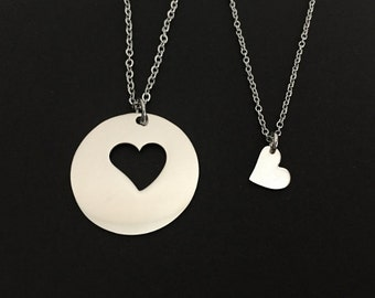 Mother Daughter Necklace Set. Stainless Steel Necklaces. Matching Family Necklaces. Generation Necklace. Mother Daughter Necklace Set.