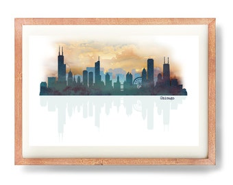 Chicago Skyline, Chicago Art Print, Chicago Poster, Chitown Art Print, Digital Art, Watercolor Skyline, Urban Art Print, Chicago Painting