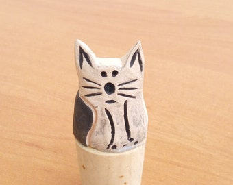 Clay Cat Wine Cork - Cat Lover Gift - Handmade Ceramic Cat Gifts - Wine Stopper - Pet Memorial Gift - Wine Lover Gift - Cat Lovers