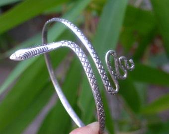 French vintage Large Snake solid sterling silver bracelet engraved wild animal bracelet ornated snake unisex man men's bracelet