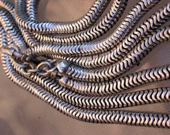 French antique Huge sterling silver snack chain necklace 115 grams long chain solid silver long necklace