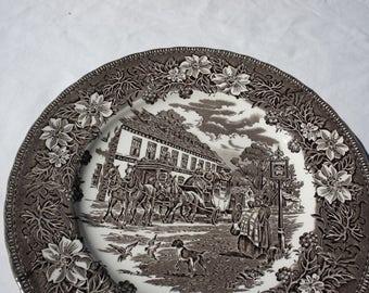 Royal Tudor Ware Staffordshire England Coaching Taverns Brown Transferware Dinner Plate