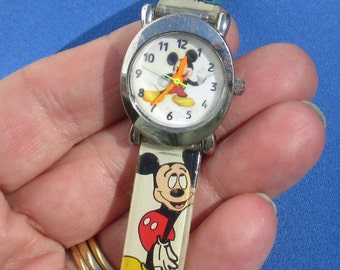 Retro Mickey Mouse Neon Hand Wrist Watch Vinyl Band