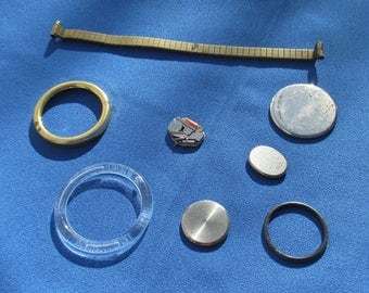 Lot Of Assorted Watch Parts Watch Band Metal  & Plastic Rings
