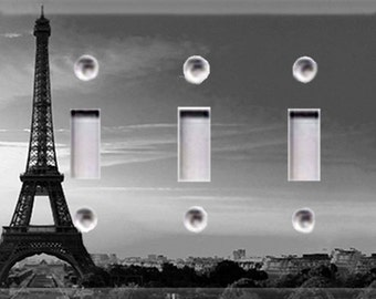 Eiffel Tower - Black and White Triple Light Switch Cover