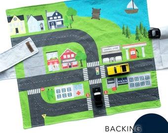 City Travel Car Mat - Navy Backing | Kids Travel Activity | Play Car Mat